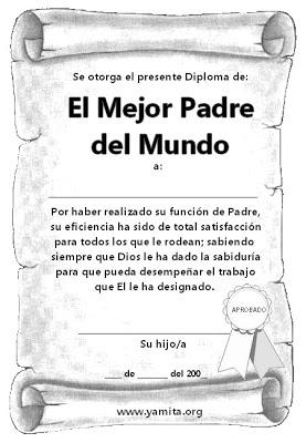 Diploma del Dia del Padre  Temas y Devocionales Cristianos